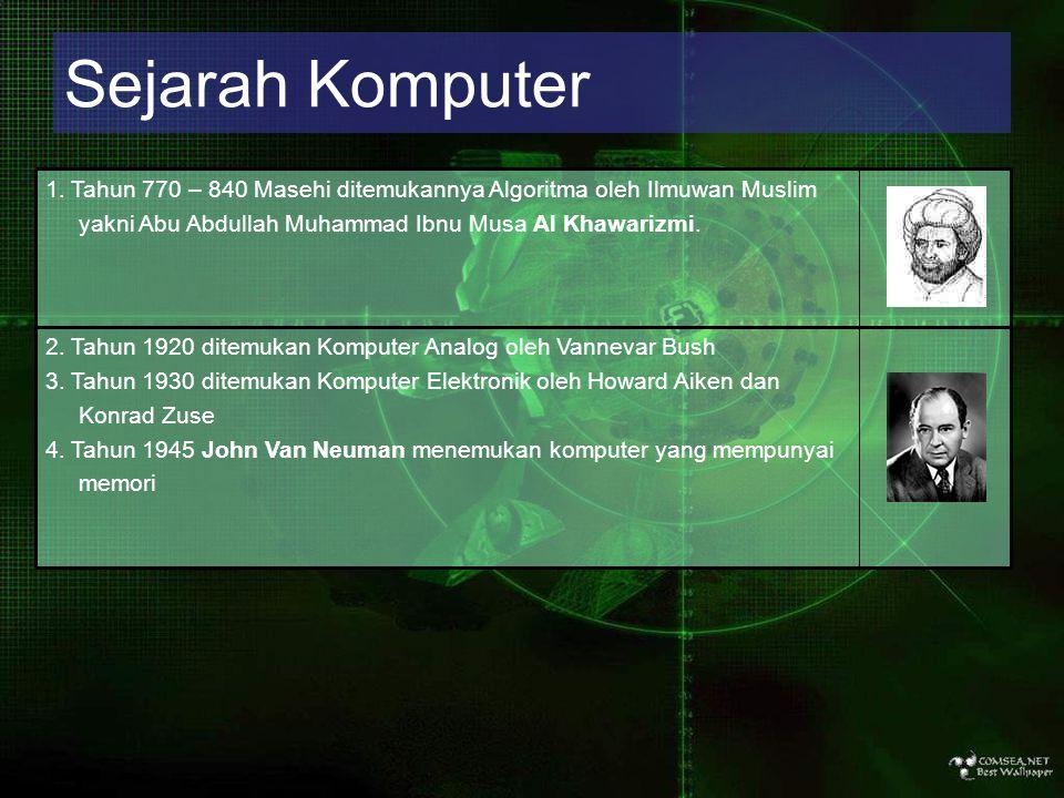 Sejarah Komputer 2. Tahun 1920 ditemukan Komputer Analog oleh Vannevar Bush. 3. Tahun 1930 ditemukan Komputer Elektronik oleh Howard Aiken dan.