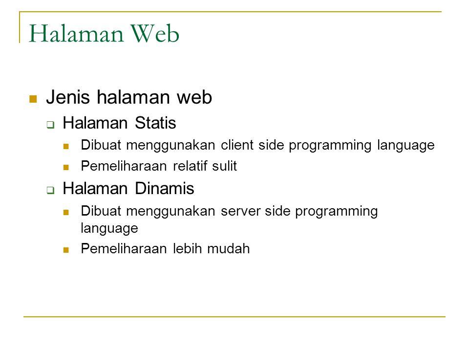 Halaman Web Jenis halaman web Halaman Statis Halaman Dinamis