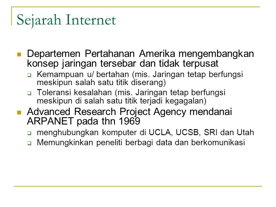 Sejarah Internet Departemen Pertahanan Amerika mengembangkan konsep jaringan tersebar dan tidak terpusat.
