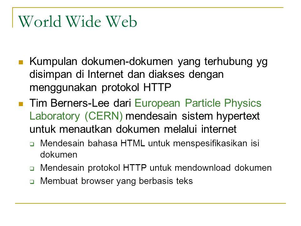 World Wide Web Kumpulan dokumen-dokumen yang terhubung yg disimpan di Internet dan diakses dengan menggunakan protokol HTTP.