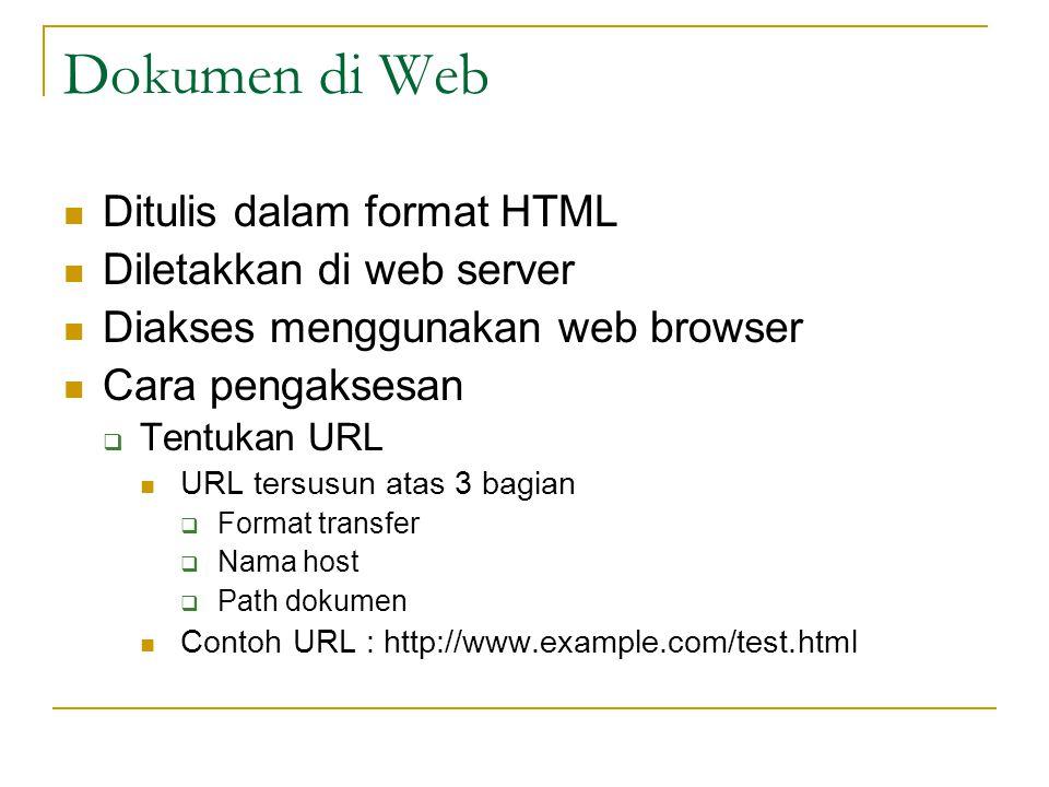 Dokumen di Web Ditulis dalam format HTML Diletakkan di web server