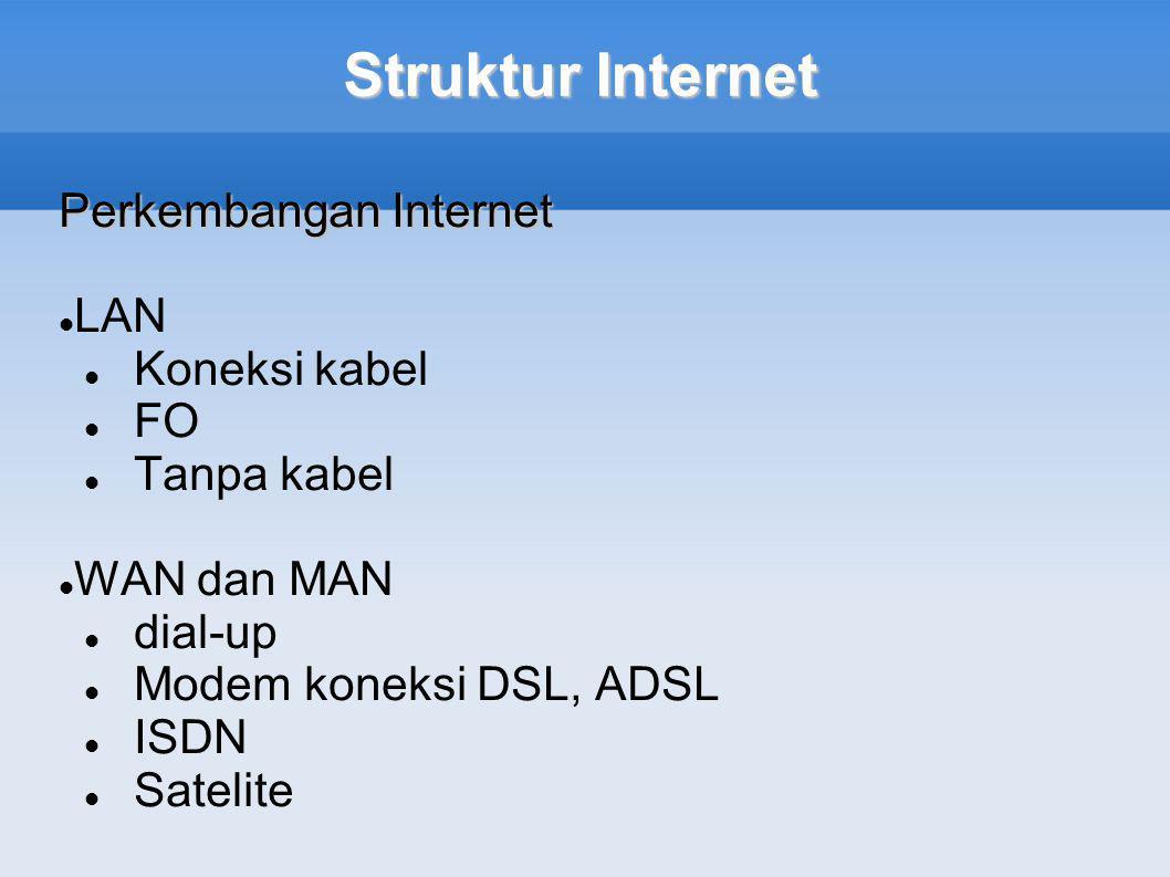 Struktur Internet Perkembangan Internet LAN Koneksi kabel FO