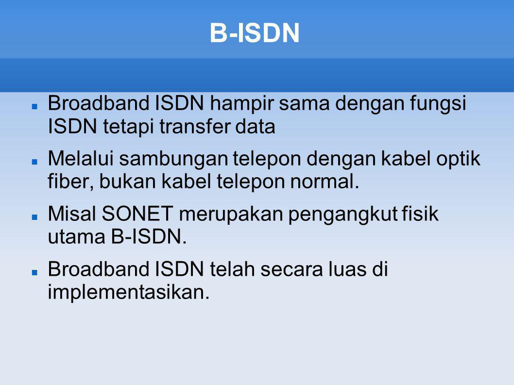 B-ISDN Broadband ISDN hampir sama dengan fungsi ISDN tetapi transfer data.