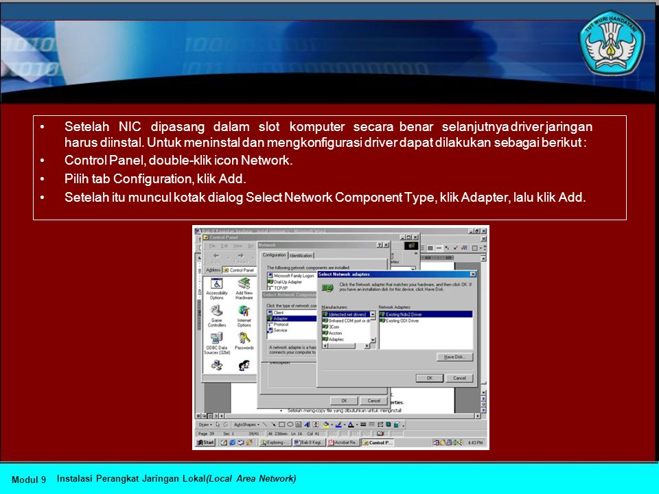 Control Panel, double-klik icon Network.