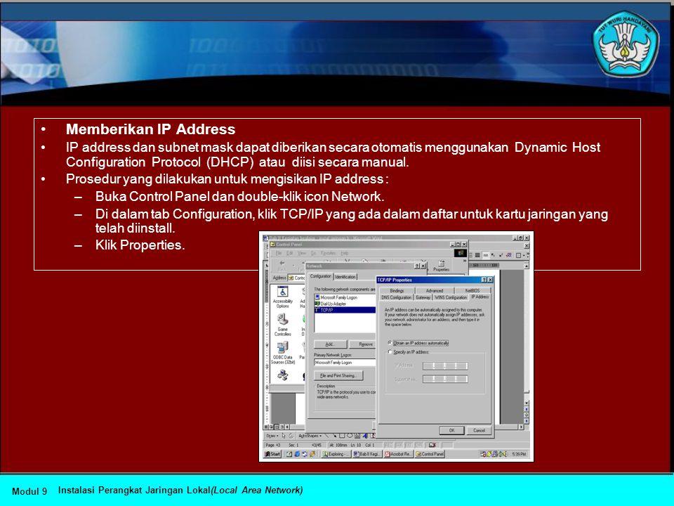 Memberikan IP Address
