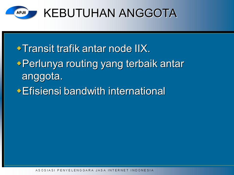 KEBUTUHAN ANGGOTA Transit trafik antar node IIX.
