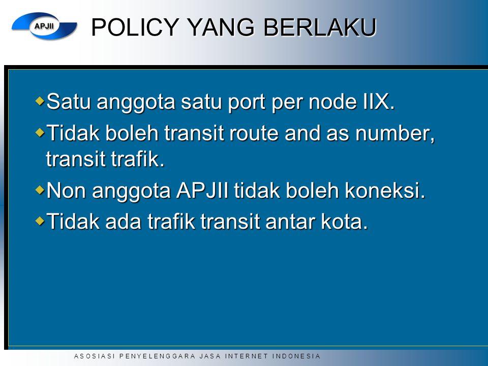 POLICY YANG BERLAKU Satu anggota satu port per node IIX.