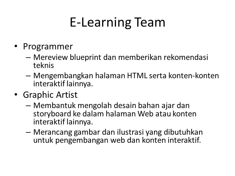 E-Learning Team Programmer Graphic Artist