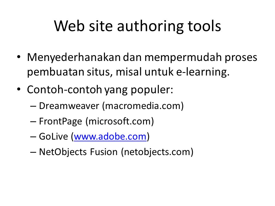Web site authoring tools