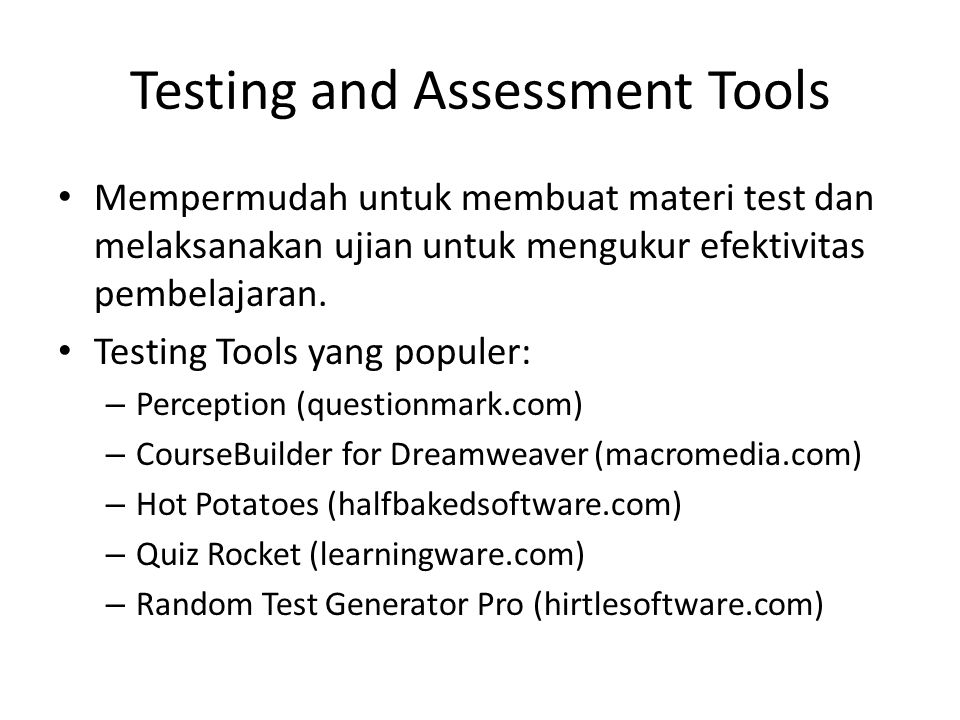 Testing and Assessment Tools