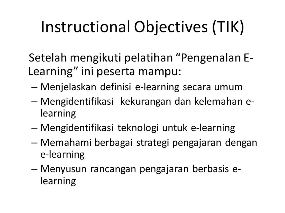 Instructional Objectives (TIK)
