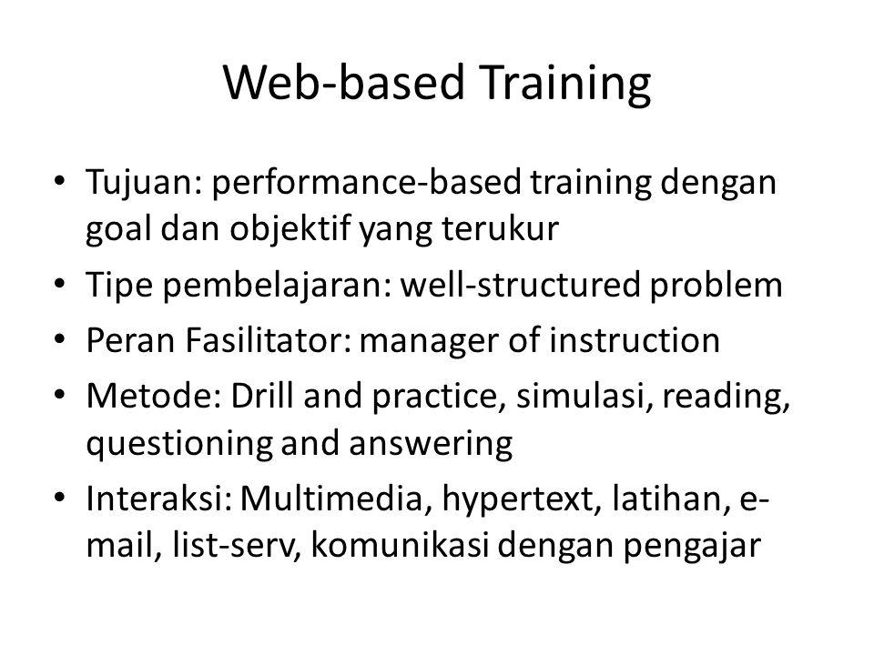 Web-based Training Tujuan: performance-based training dengan goal dan objektif yang terukur. Tipe pembelajaran: well-structured problem.
