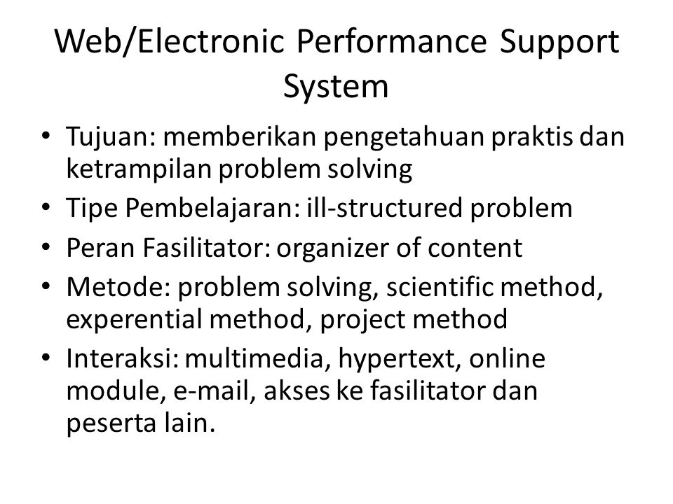 Web/Electronic Performance Support System