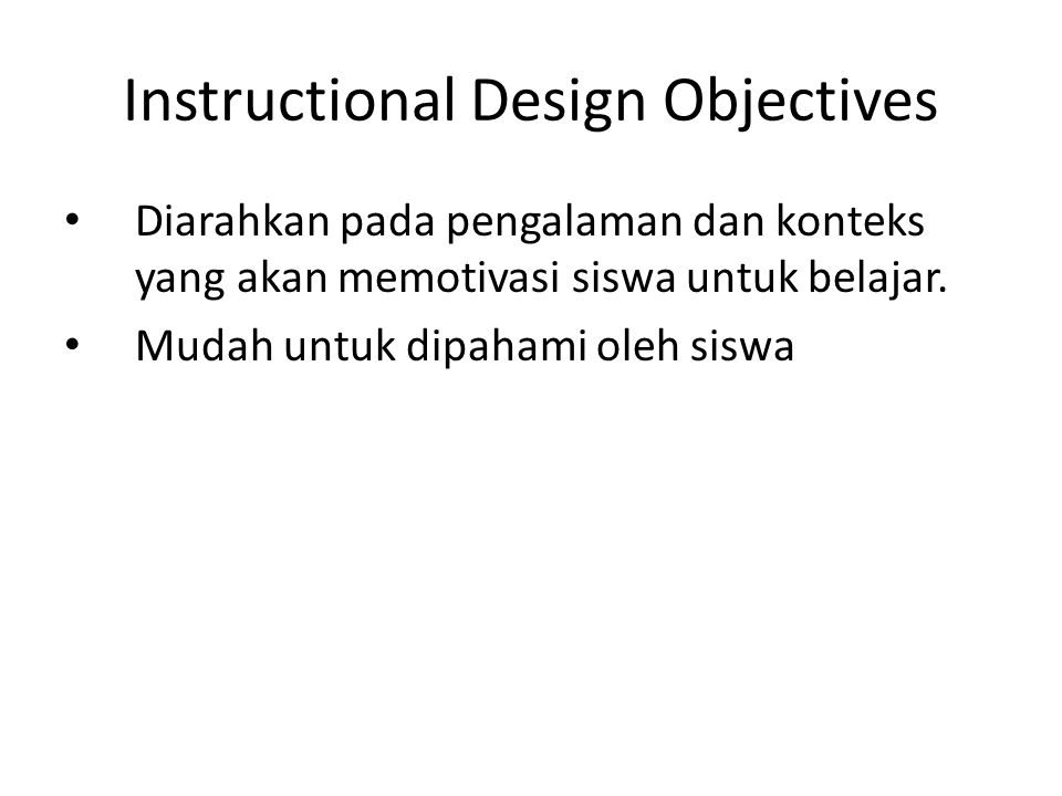 Instructional Design Objectives