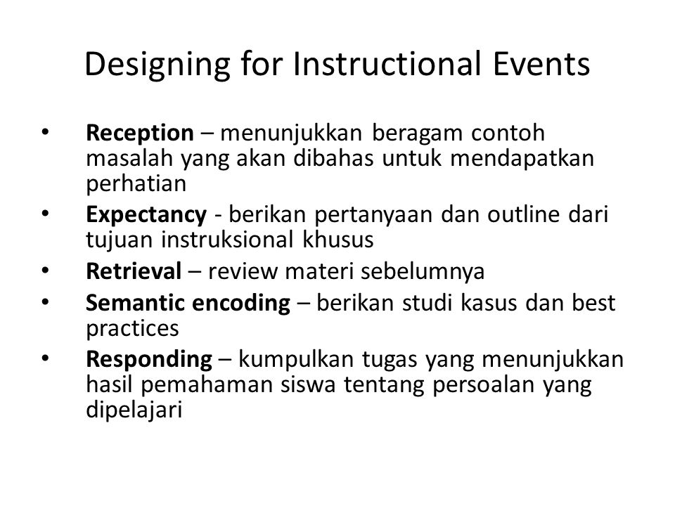 Designing for Instructional Events