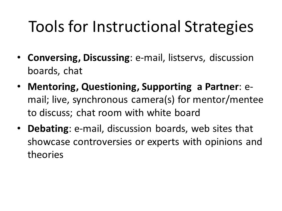 Tools for Instructional Strategies