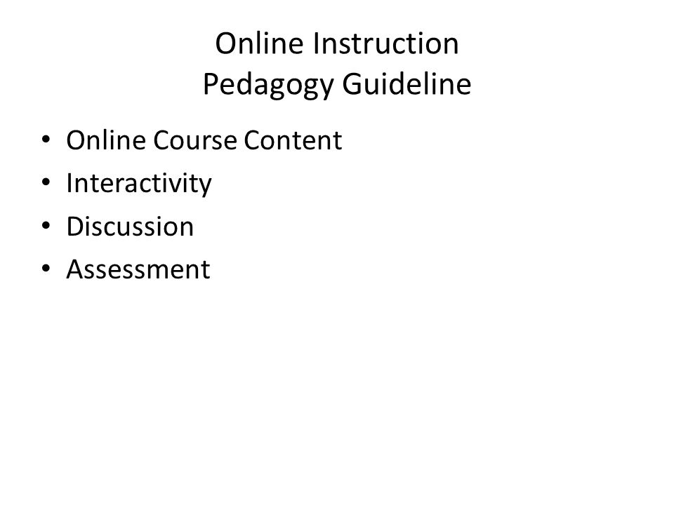 Online Instruction Pedagogy Guideline