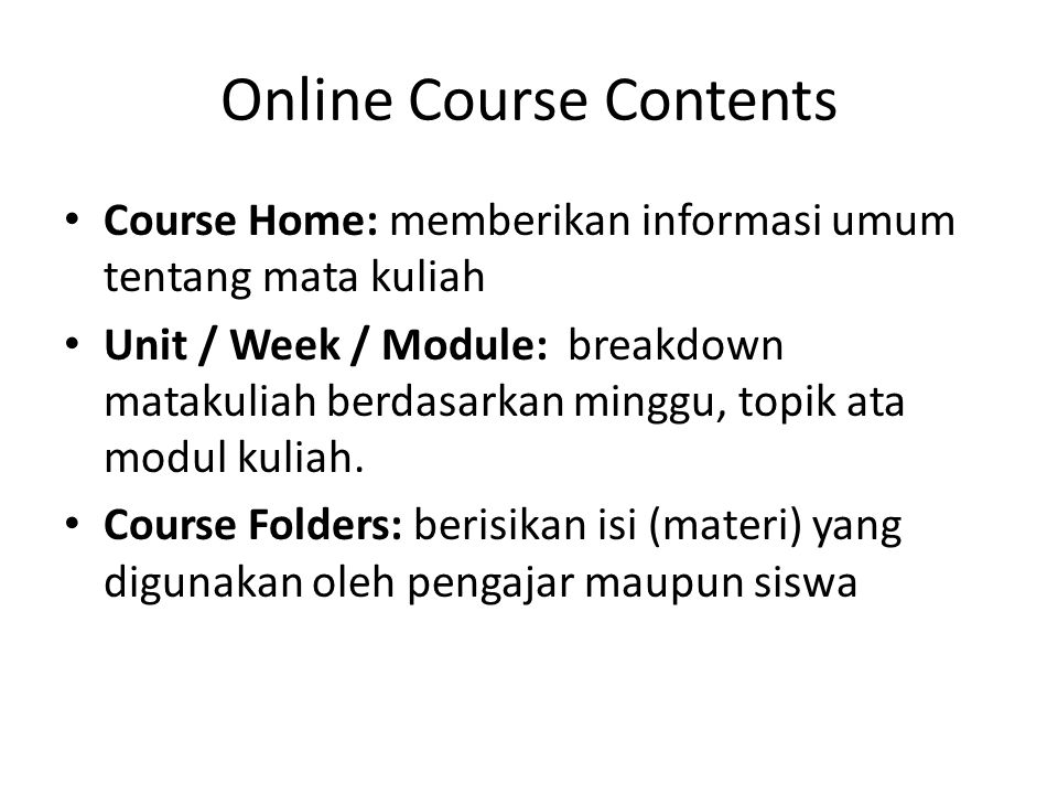 Online Course Contents