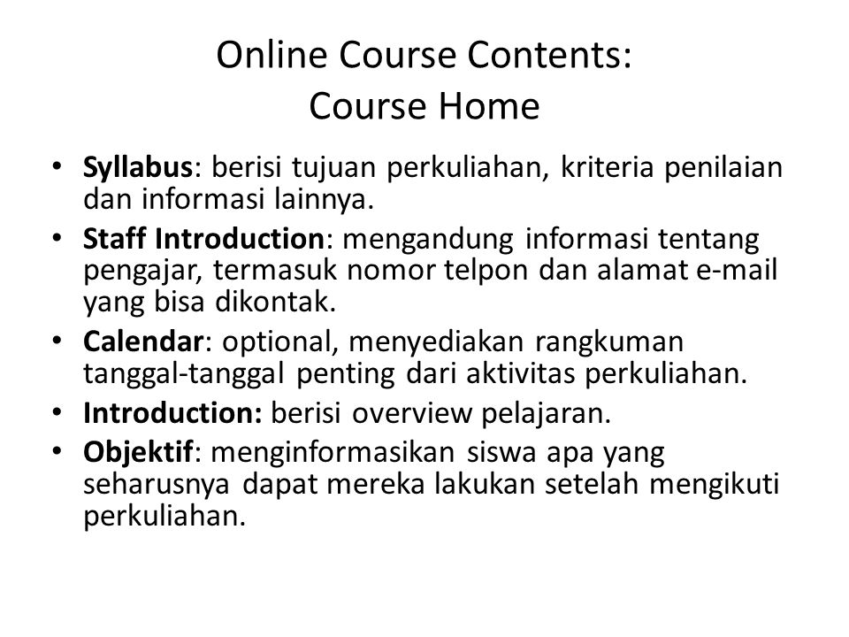 Online Course Contents: Course Home