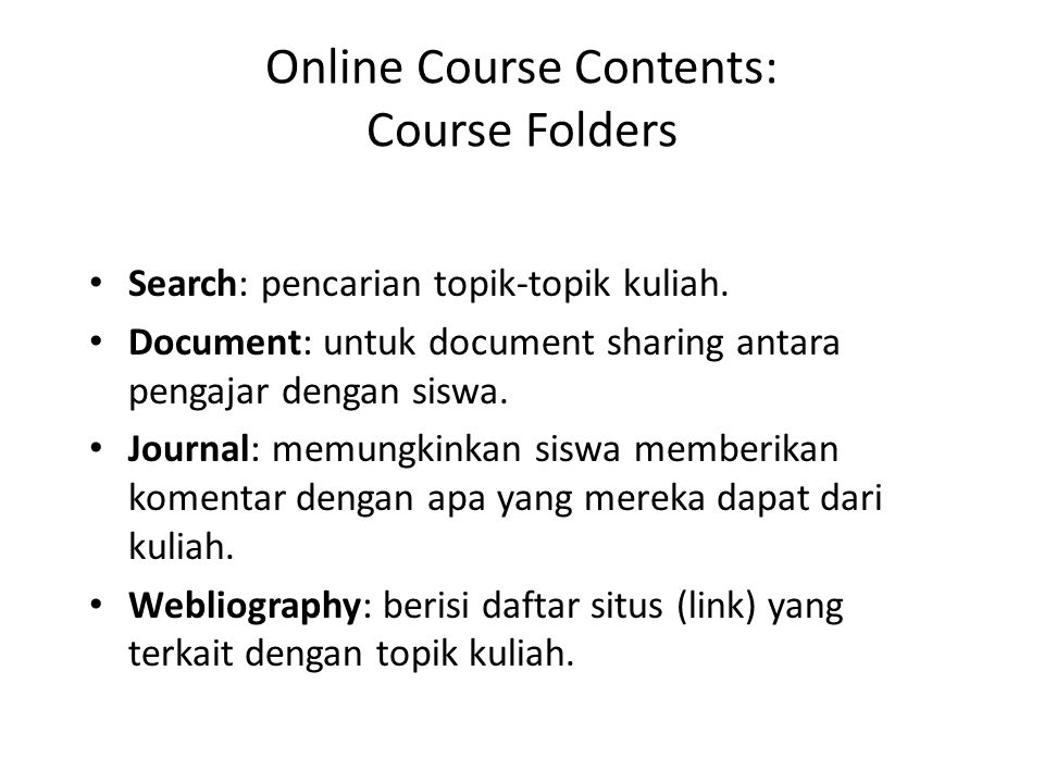 Online Course Contents: Course Folders