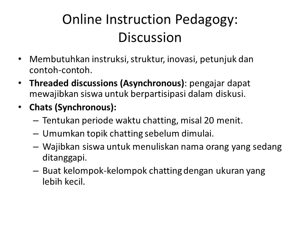 Online Instruction Pedagogy: Discussion
