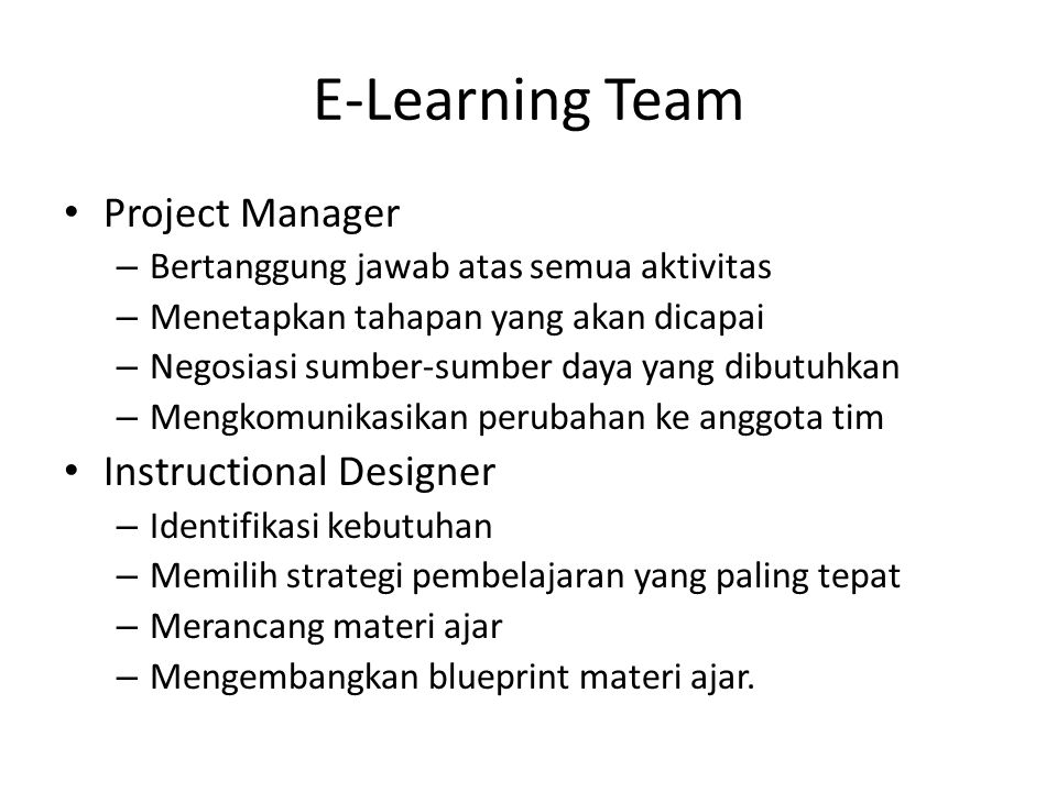 E-Learning Team Project Manager Instructional Designer