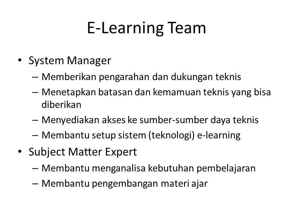 E-Learning Team System Manager Subject Matter Expert