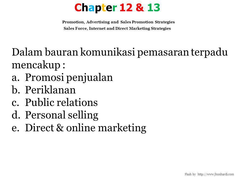 Dalam bauran komunikasi pemasaran terpadu mencakup : Promosi penjualan
