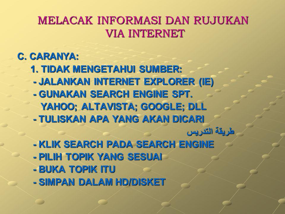 MELACAK INFORMASI DAN RUJUKAN VIA INTERNET