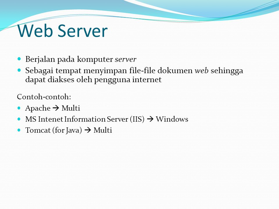 Web Server Berjalan pada komputer server