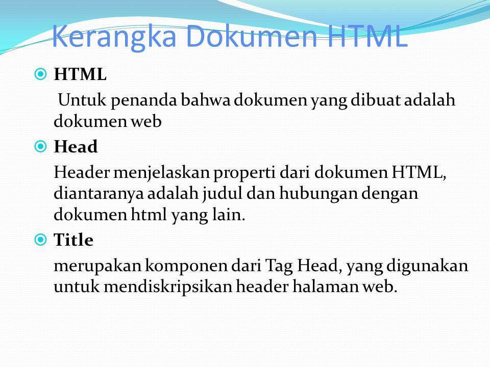 Kerangka Dokumen HTML HTML