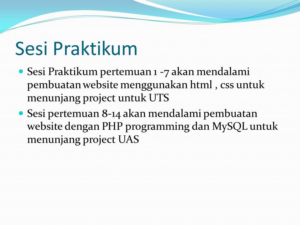 Sesi Praktikum Sesi Praktikum pertemuan 1 -7 akan mendalami pembuatan website menggunakan html , css untuk menunjang project untuk UTS.