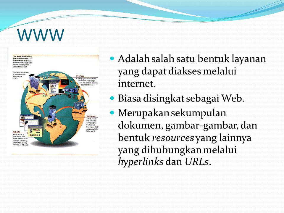 WWW Adalah salah satu bentuk layanan yang dapat diakses melalui internet. Biasa disingkat sebagai Web.