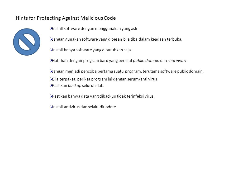 Hints for Protecting Against Malicious Code