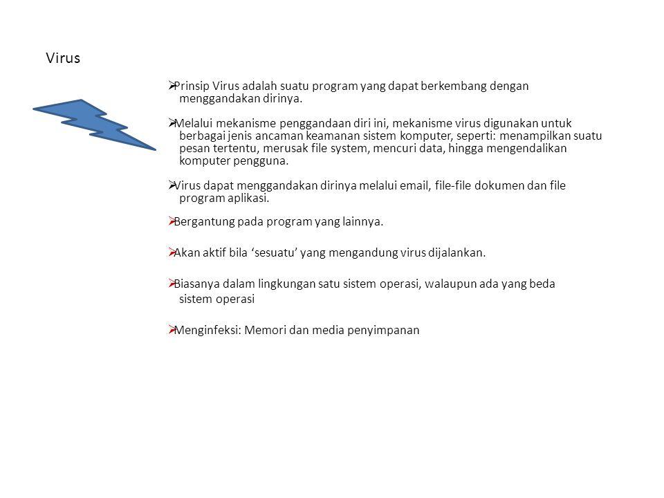 Virus Prinsip Virus adalah suatu program yang dapat berkembang dengan