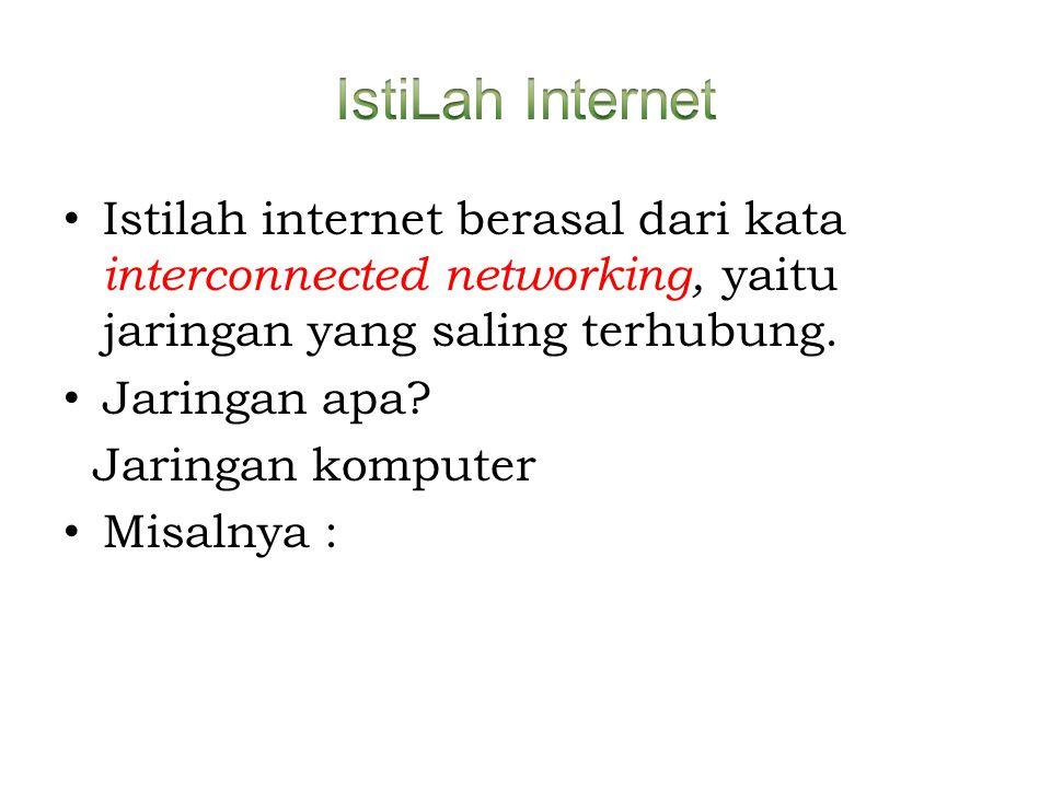 IstiLah Internet Istilah internet berasal dari kata interconnected networking, yaitu jaringan yang saling terhubung.