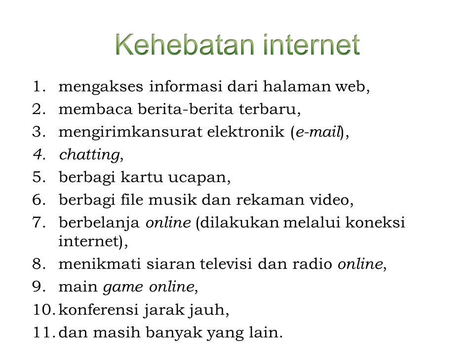 Kehebatan internet mengakses informasi dari halaman web,