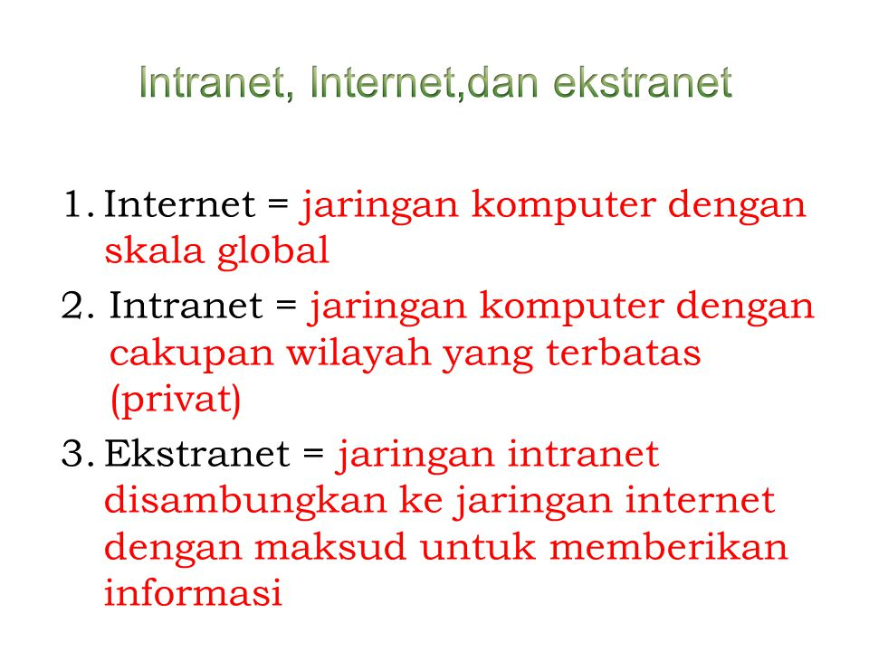 Intranet, Internet,dan ekstranet