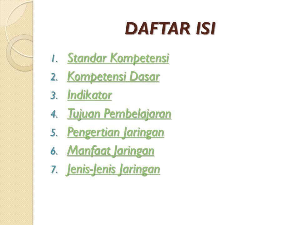 DAFTAR ISI Standar Kompetensi Kompetensi Dasar Indikator