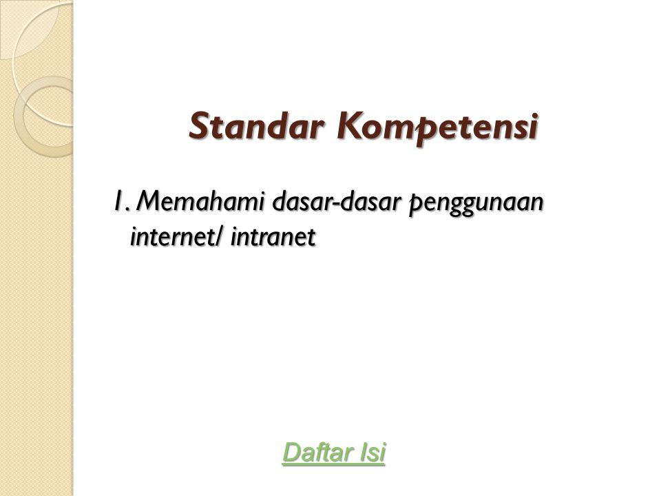 Standar Kompetensi 1. Memahami dasar-dasar penggunaan internet/ intranet Daftar Isi