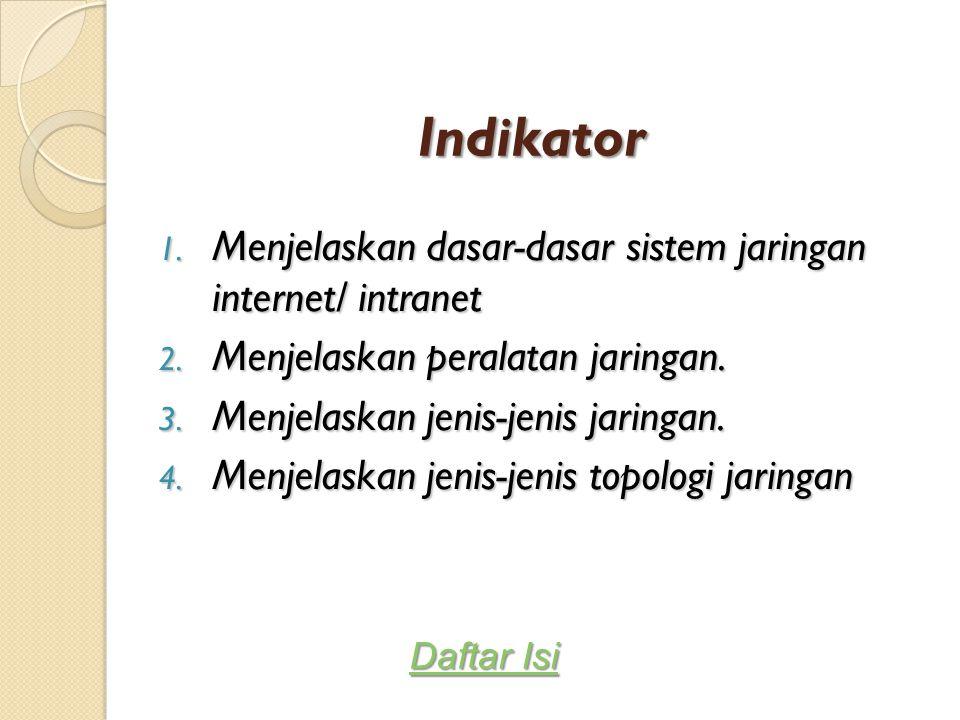 Indikator Menjelaskan dasar-dasar sistem jaringan internet/ intranet