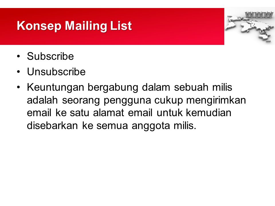 Konsep Mailing List Subscribe Unsubscribe