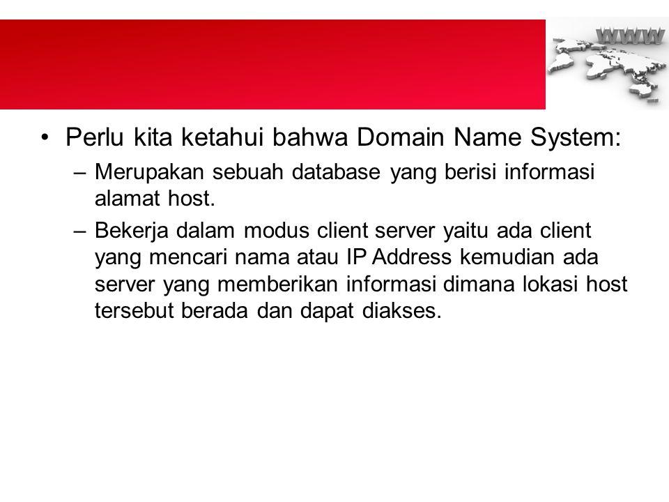 Perlu kita ketahui bahwa Domain Name System: