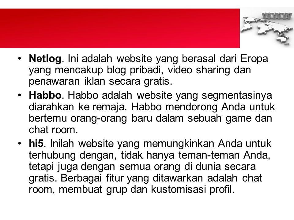 Netlog. Ini adalah website yang berasal dari Eropa yang mencakup blog pribadi, video sharing dan penawaran iklan secara gratis.