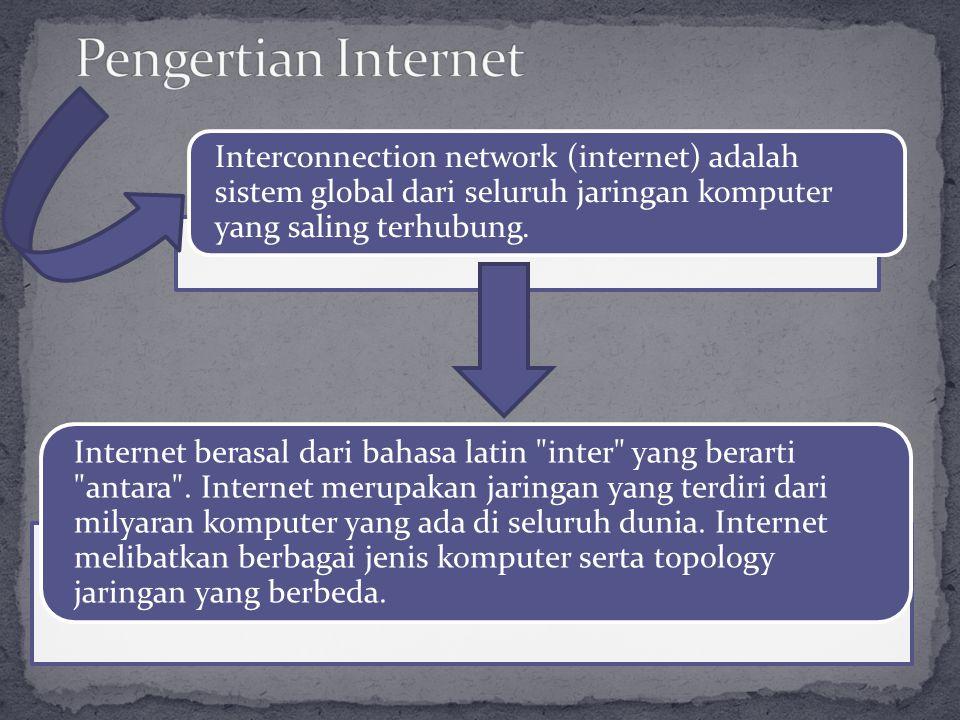 Pengertian Internet Interconnection network (internet) adalah sistem global dari seluruh jaringan komputer yang saling terhubung.