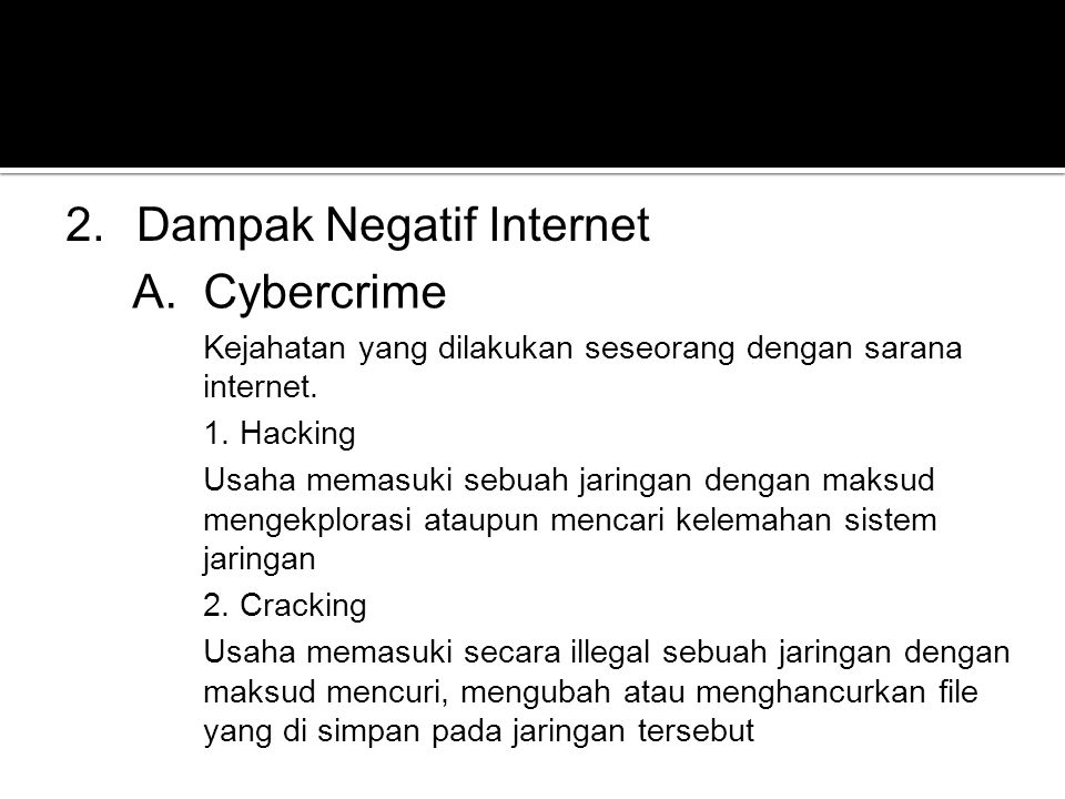 Dampak Negatif Internet Cybercrime