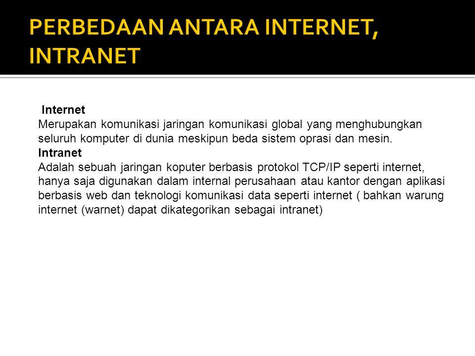 PERBEDAAN ANTARA INTERNET, INTRANET