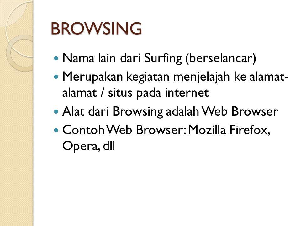 BROWSING Nama lain dari Surfing (berselancar)