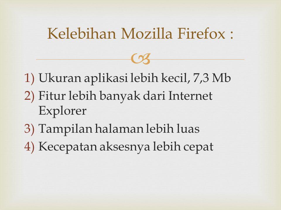 Kelebihan Mozilla Firefox :