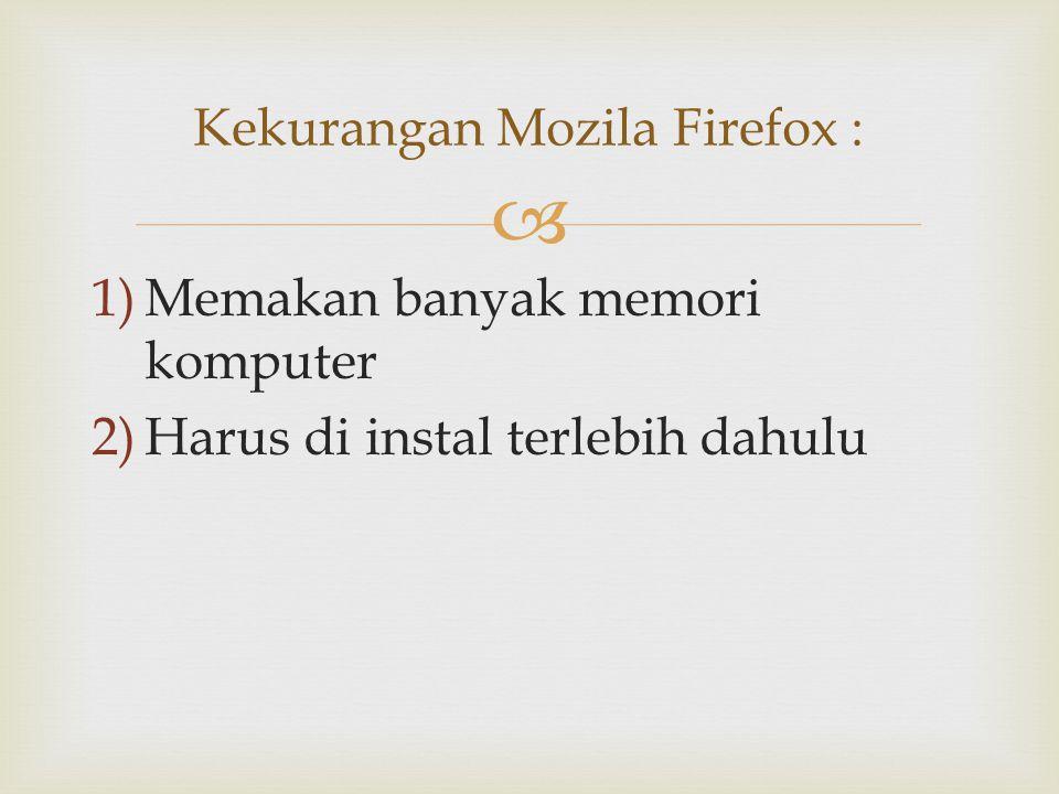 Kekurangan Mozila Firefox :